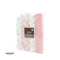 Holabebe - Flannel Baby Blanket 4pcs Pink