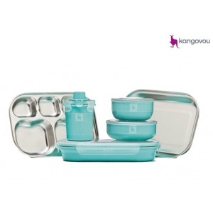 Kangovou Kids Dishware Set Iced Mint.