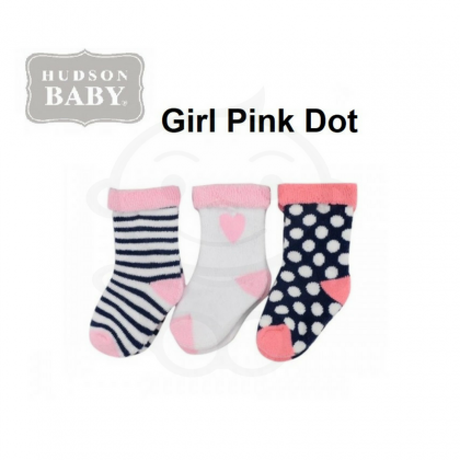 Hudson Baby Terry Sock 3pk (Girl Pink Dot)