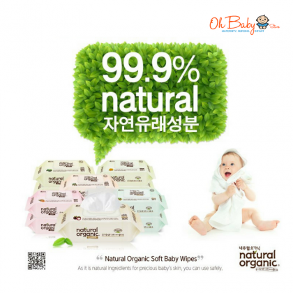 Natural Organic Baby Wipes Premium Embo Cap 30's  x 20 Packs