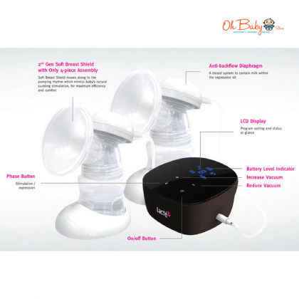 Lacte Duet Omnia Rechargeable Electric Breast pump Package with Cimilre Handsfree Breast Shield