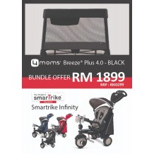 4moms Breeze Plus 4.0 Playard/Playpen - Black [Free Smartrike Infinity-Blue]