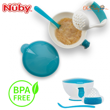 Nuby Garden Fresh Mash N Feed Bowl with Lid Spoon and Food Masher