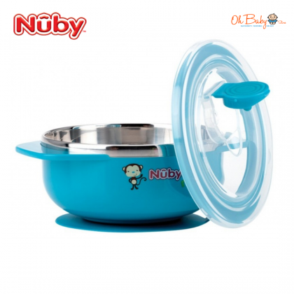 Nuby Stainless Steel Suction Bowl with Lid 250ml