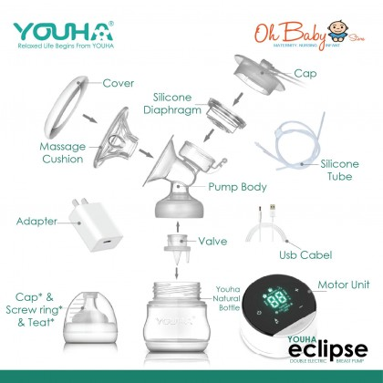 Youha Eclipse Double Rechargeable Breast Pump and Youha Baby Milk Warmer Combo