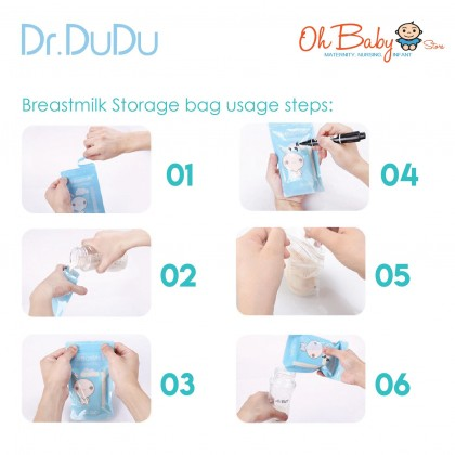Dr.Dudu Breast Milk Storage Bags 30pcs 200ml with Temperature Identification