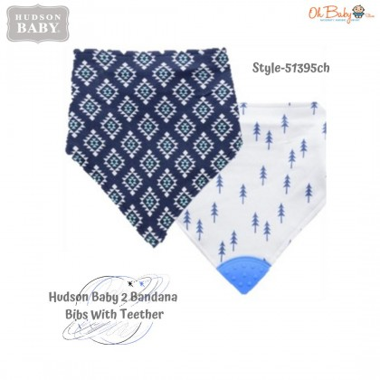 Hudson Baby 2  Bandana Bibs With Teether
