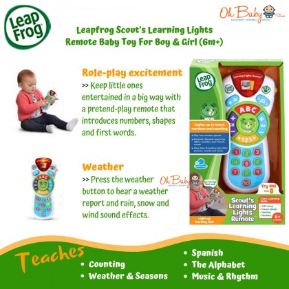 Leapfrog Scout's Learning Lights Remote Deluxe Baby Toy For Boy & Girls (6m+)