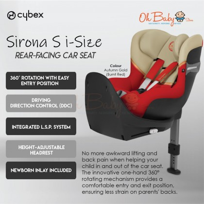 CYBEX Gold Sirona S iSize 360 Rotation Isofix Car Seat for New Born - 105cm