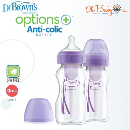Dr Brown's Natural Flow® Wide-Neck Baby Bottle Twinpack (270ml/9oz) - White/Blue/Pink/Purple