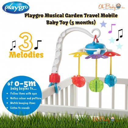 Playgro Musical Garden Travel Mobile Baby Toy for Boy & Girl (5months+)