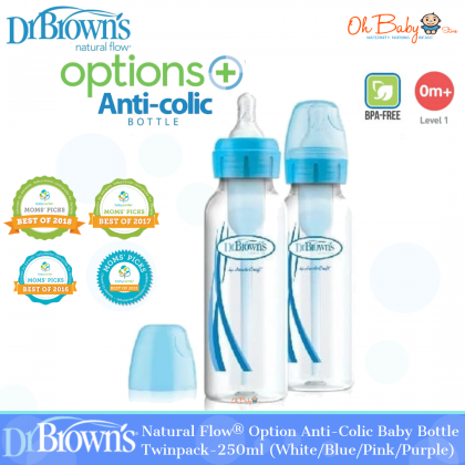 Dr Brown's Natural Flow® Options+™ Anti-colic Narrow Neck Baby Bottle Twinpack-250ml (White/Blue/Pink/Purple)