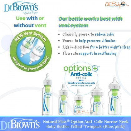 Dr Brown's Natural Flow® Options+™ Anti-colic Narrow Neck Baby Bottle 120ml/4oz-Twinpack (Blue/Pink)