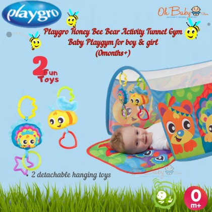 Playgro Honey Bee Bear Activity Tunnel Gym Baby Playmat For Baby Boy & Girl(0months+)