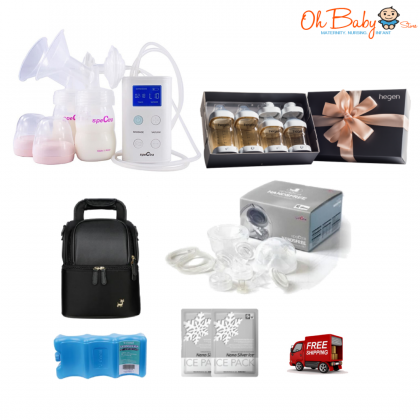 Spectra - 9 Plus Double Rechargeable Breast Pump with Hegen PCTO™ Complete Starter Kit PPSU (Wide Neck Adapter)  & Handfree Cup Package