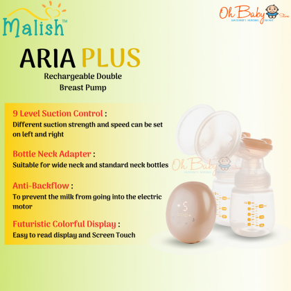 Malish Aria Plus Rechargeable Double Electric Breast Pump (Pump Only/ with Free Package)