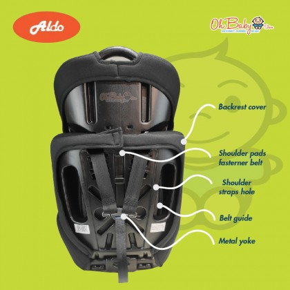 Aldo AL-109 Booster Carseat For 9 Month Until 12 Years Old, ECE Certified, 2 Year Warranty