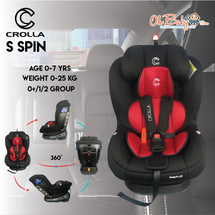Crolla S Spin Two Tone Black Red Car Seat Age 0-7 yrs Weight 0-25 kg (0+/1/2 GROUP)