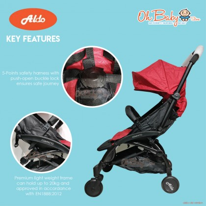 Aldo Compatto Baby Stroller Old Version suitable from Newborn up to 15kg (4++)