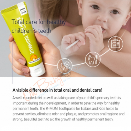 K MOM Non Fluoride/Low Fluroide Toothpaste for Babies & Kids (Strawberry 30g/ Mix Fruit 50g)