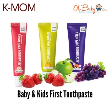 K MOM Non Fluoride/Low Fluoride Toothpaste for Babies & Kids (Strawberry 30g/ Mix Fruit 50g/ Grape 50g)
