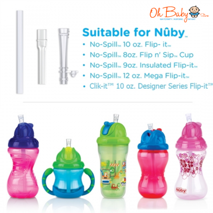 Nuby No-Spill Flip-it Replacement Straw Kit (2 Pcs)