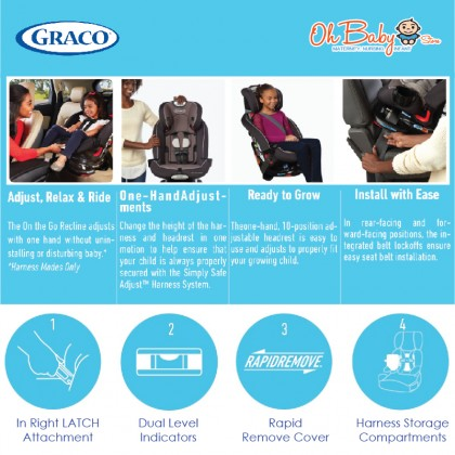 Graco Recline & Ride Convertible Car Seat From Newborn Up To 45kg