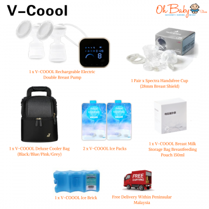 V-COOOL Rechargeable Double Electric Breast Pump with Spectra Handfree Package
