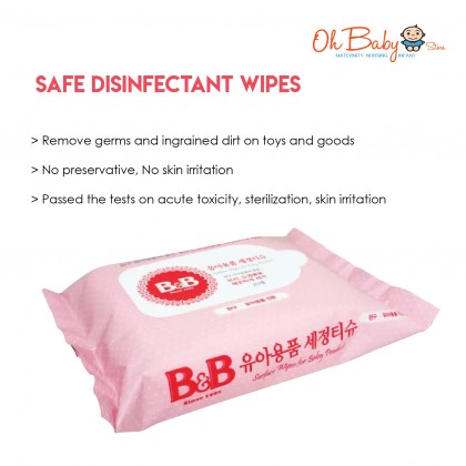 B&B Safe Disinfectant Baby Wipes (20's)