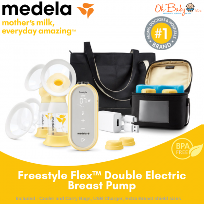 Medela Freestyle Flex™ Double Rechargeble Electric 2-Phase Breast Pumpwith Tote Bag & Cooler Bag Set