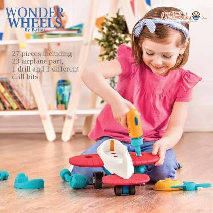 Wonder Wheels by Battat Take Apart Airplane Toy Airplane with Toy Drill for Kids Aged 3 Years & Up (27Pc)