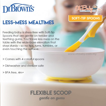 Dr Brown's Soft-Tip Baby Spoons Flexible Scoop (4-Pack)