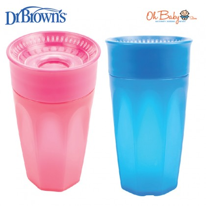Dr Brown's Cheers 360 Baby Toddler Feeding Cup 10 Oz/300ml - Pink/Blue