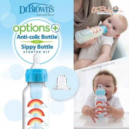 Dr Brown's Options + Baby Bottle and Sippy Spout, Sippy Bottle Starter Kit 250ml