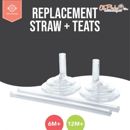 Grosmimi Replacement Straw + Teats (6 months/12 months) Twin pack 2 sets