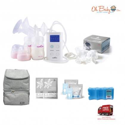 Spectra 9 Plus Double Electric Breast Pump Package with handsfree cup and Bubbly Joy Cooler Bag