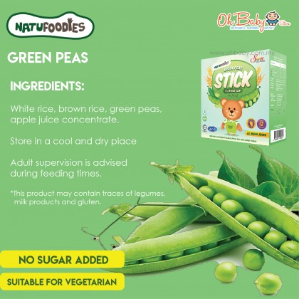 Natufoodies Baby Finger Food-Natural Food Stick- Green Peas