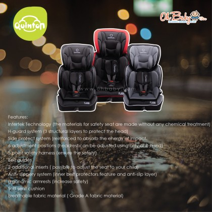 Quinton Flash Booster Car Seat from 9-36kg (Group 1, 2, 3)