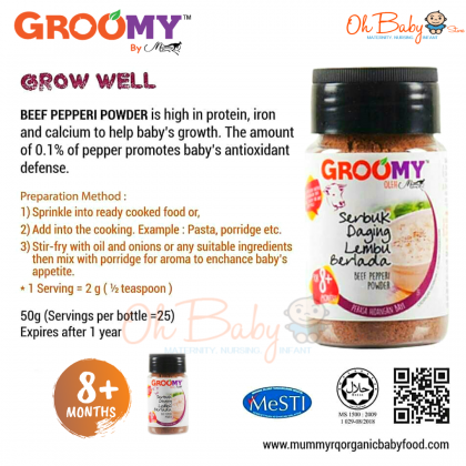 Groomy Beef Pepperi Powder 50g for Baby 8months+