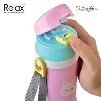 Relax 18.8 Stainless Steel Kids Thermal Flask With Straw (360ml)