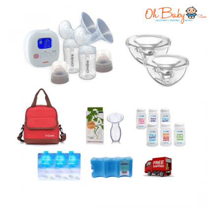 Cimilre F1 Rechargeable Double Breast Pump Package with Youcup