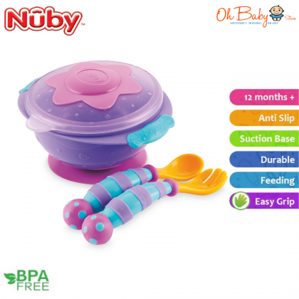 Nuby Wacky Ware Suction Bowl + Fork & Spoon for 12m+