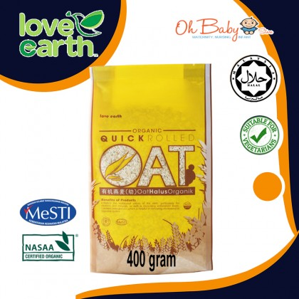 Love Earth Organic Quick Rolled Oat 400g