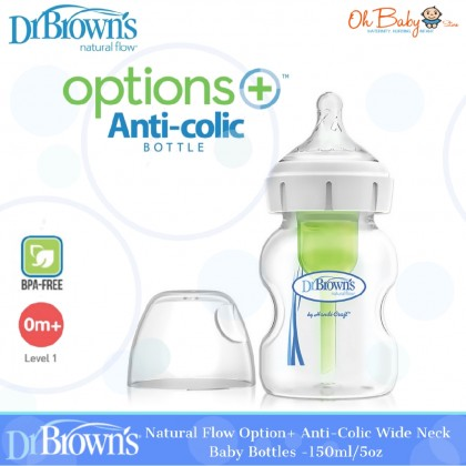 Dr Browns Natural Flow Options+ Anti-Colic Wide-Neck Baby Bottle (5oz/150ml)