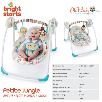 Bright Starts Baby Portable Swing with Whisper Quiet Technology