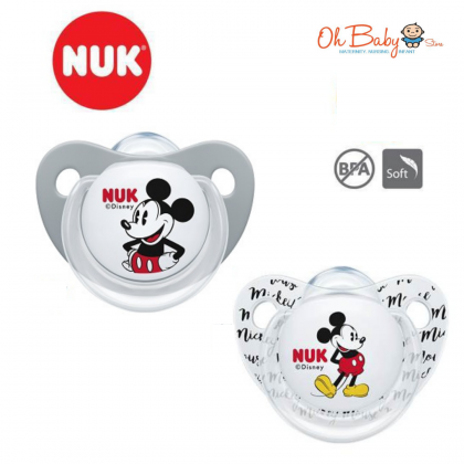 NUK Mickey Sleeptime Silicone Soother 6-18m (2 Pieces)