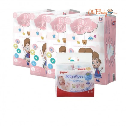 Bb Diapers Premium Tape Diapers Size (S/M/L/XL) x 4 Packs with Pigeon Baby Wipes 99% Pure Water (82s Refill x 6)