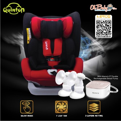 Quinton Max Air Safety Baby Car Seat Combo with Mama's S7 Double Rechargeable Breast Pump