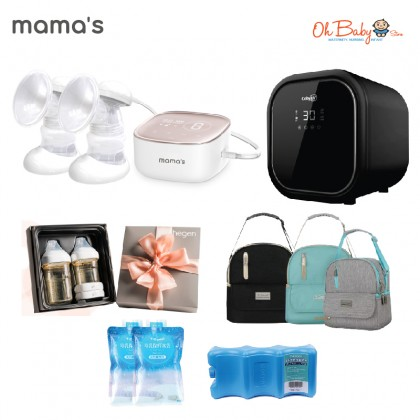 Mama's S7 Double Rechargeable Electrical Breast Pump Package with Coby UV V2 Waterless Steriliser and Hegen Basic Starter Set