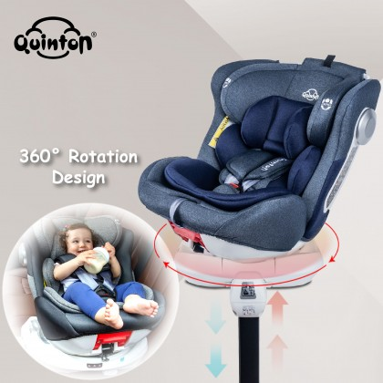 Quinton One Spin+360 Car Seat blue/grey + Coco High Chair grey